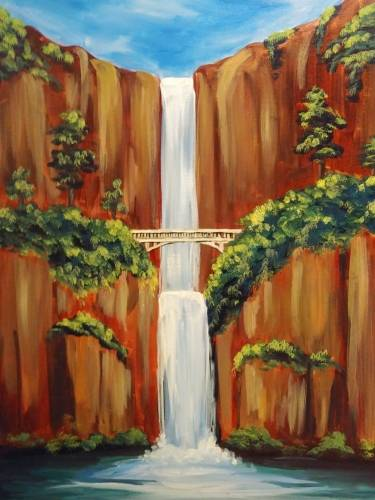 A Waterfall Under The Bridge paint nite project by Yaymaker