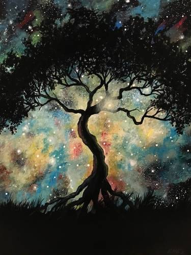 A Galaxy Knowledge Tree paint nite project by Yaymaker
