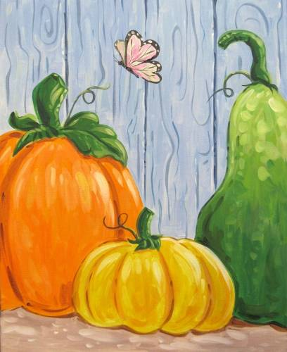 A Barnyard Pumpkins And A Butterfly paint nite project by Yaymaker