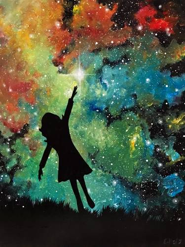 A Reaching For The Stars paint nite project by Yaymaker