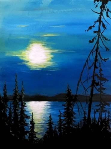 A Lake In The Moonlight paint nite project by Yaymaker