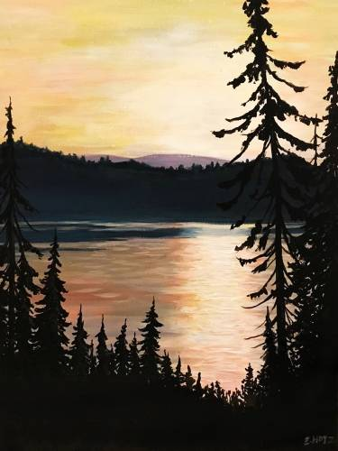A Lake At Dusk II paint nite project by Yaymaker
