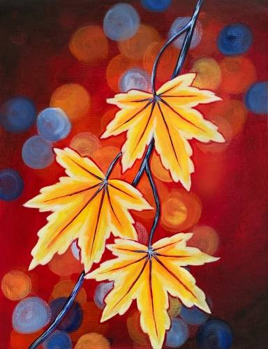 A Glowing Autumn Leaves paint nite project by Yaymaker