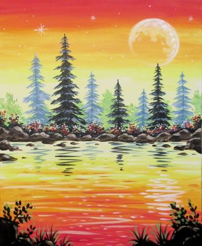 A Sunset Lake Oasis paint nite project by Yaymaker