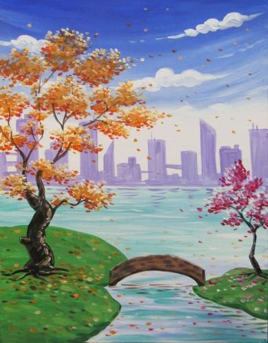 A Fall Blossoms And A Bridge paint nite project by Yaymaker