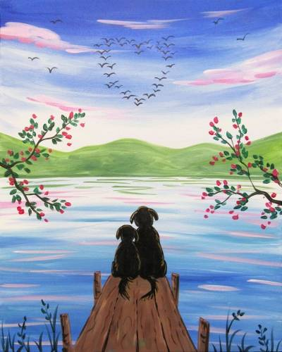 A Doggy Love On The Dock paint nite project by Yaymaker