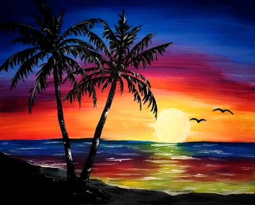 A Rainbow Palm Tree paint nite project by Yaymaker