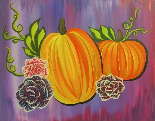 A Pumpkins And Fall Blooms paint nite project by Yaymaker