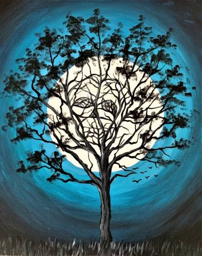 A Teal Skull Tree paint nite project by Yaymaker
