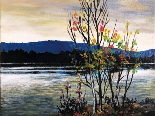 A Lake In Autumn paint nite project by Yaymaker