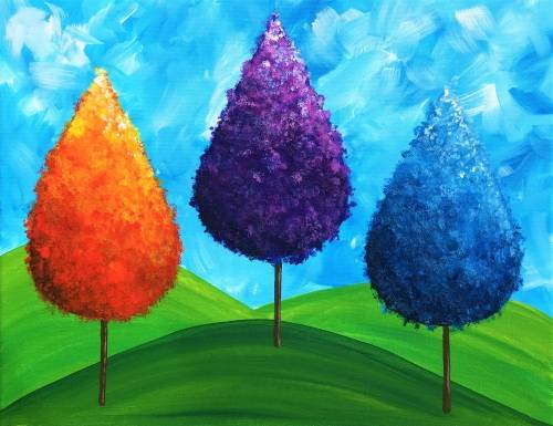 A Tree Trio paint nite project by Yaymaker