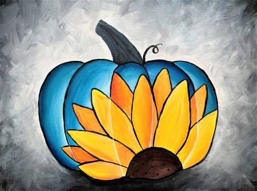 A Sunflower Pumpkin paint nite project by Yaymaker