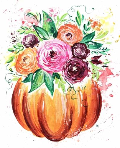 A Pumpkin Flower Pot paint nite project by Yaymaker