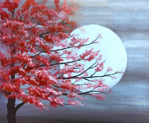A Red Tree in Moonlight paint nite project by Yaymaker