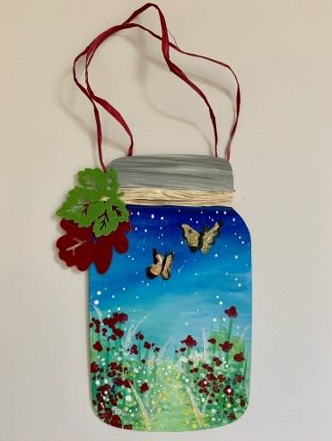 A Butterfly Fields Wood Mason Jar Hanging paint nite project by Yaymaker