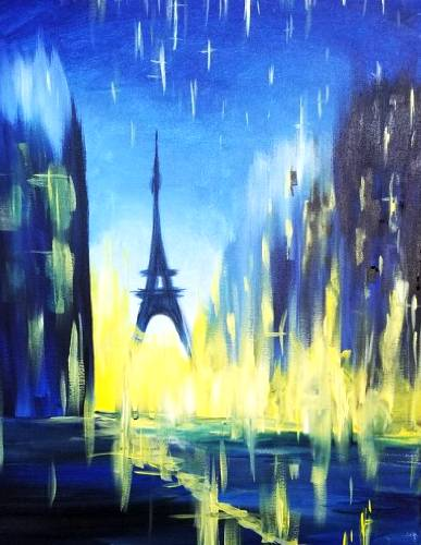 A Paris Lights In The Rain paint nite project by Yaymaker