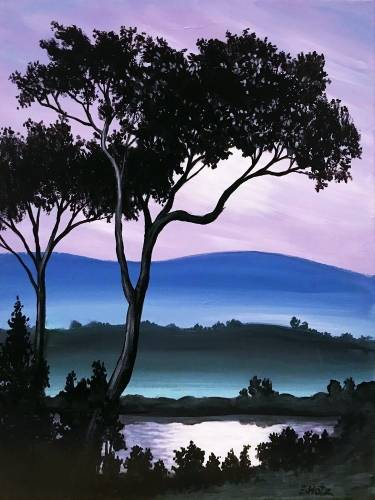 A Mauve Moonlit Sky paint nite project by Yaymaker