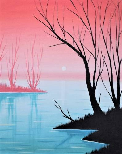 A Misty Peach Lake paint nite project by Yaymaker