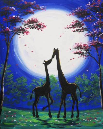 A Moonlit Giraffe Kiss paint nite project by Yaymaker