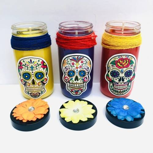 A Sugar Skulls and Flowers Candle Making  Set of 3 candle maker project by Yaymaker
