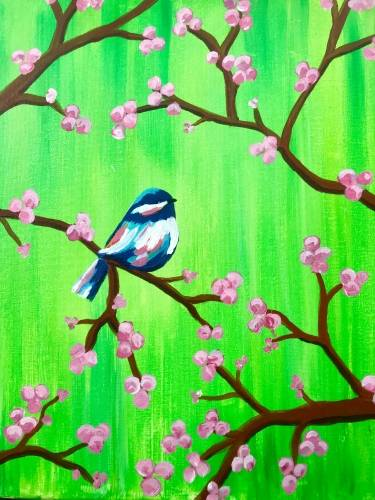 A Cherry Blossom Chikadee paint nite project by Yaymaker