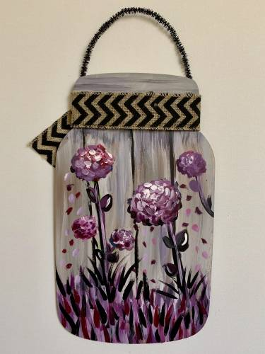 A Pretty In Purple Mason Jar Wood Hanging paint nite project by Yaymaker