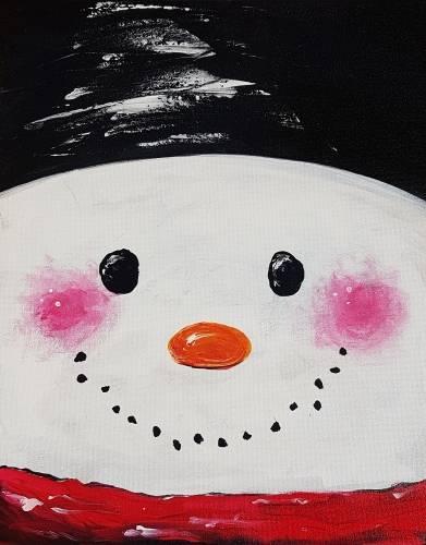A Snowman Portrait paint nite project by Yaymaker