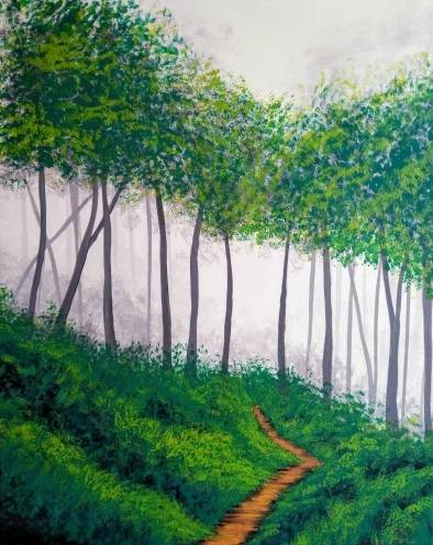 A Follow Me Into The Forest paint nite project by Yaymaker