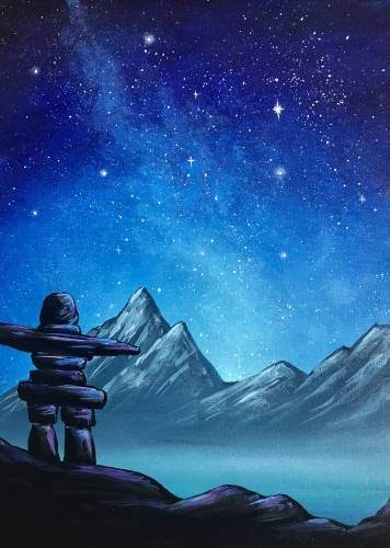 A Inukshuk Mountains paint nite project by Yaymaker