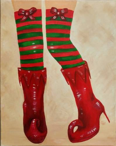 A Naughty Elf Holiday Boots paint nite project by Yaymaker