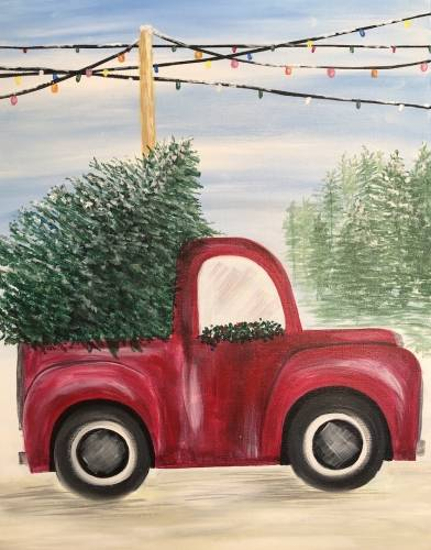 A Old Truck at a Tree Farm paint nite project by Yaymaker