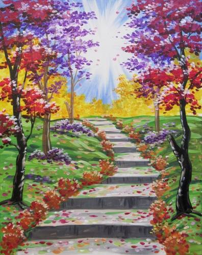 A Stairway to Autumn paint nite project by Yaymaker
