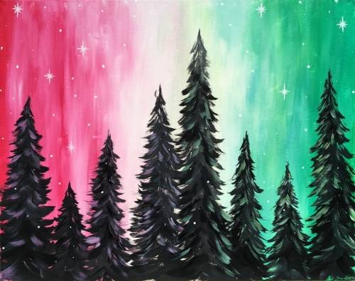 A Holiday Forest paint nite project by Yaymaker