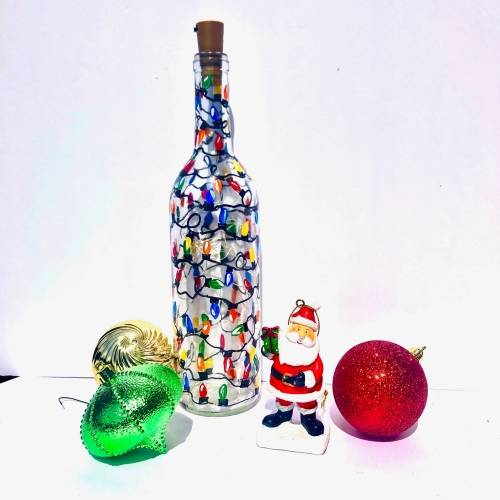 A Vintage Christmas  Fairy Lights Wine Bottle paint nite project by Yaymaker