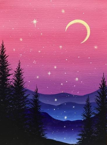 A Purple Mountain Magic paint nite project by Yaymaker