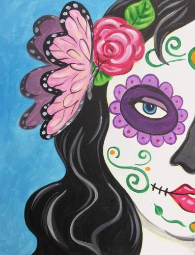 A Calavera Con Mariposa paint nite project by Yaymaker