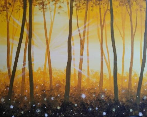 A Golden Forest Glow paint nite project by Yaymaker