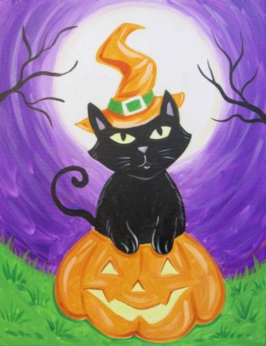 A Kitty Witch In A Pumpkin paint nite project by Yaymaker