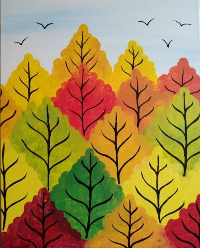 A Happy Autumn Trees paint nite project by Yaymaker