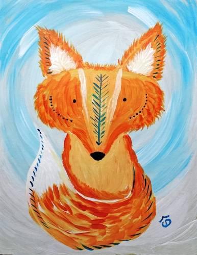 A Folk Artsy Fox paint nite project by Yaymaker