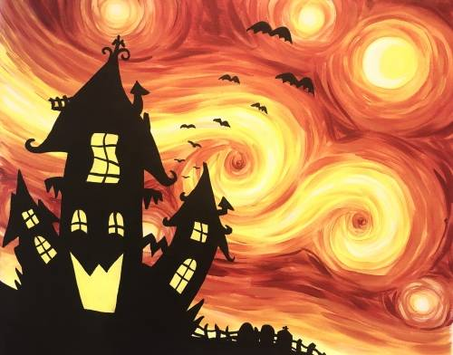 A Starry Halloween paint nite project by Yaymaker