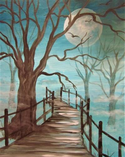 A Mysterious Foggy Path paint nite project by Yaymaker
