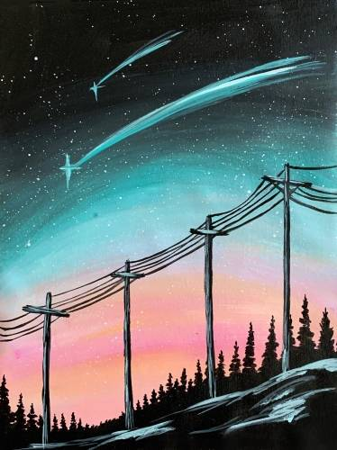 A Galaxy Telephone Wire paint nite project by Yaymaker
