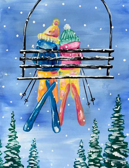 A Going up the Ski Lift paint nite project by Yaymaker