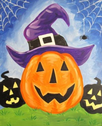 A Witchy Pumpkin paint nite project by Yaymaker