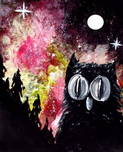 A Galaxy Owl paint nite project by Yaymaker