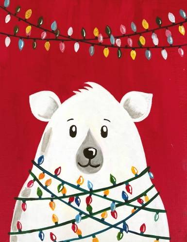 A Polar Bear Holiday Lights paint nite project by Yaymaker