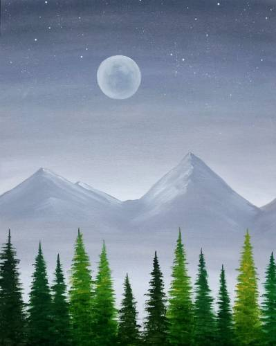 A Misty Mountain Pines paint nite project by Yaymaker