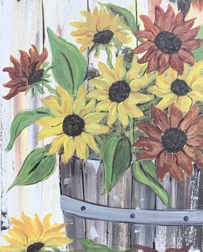 A Fall Sunflower Wine Barrel paint nite project by Yaymaker