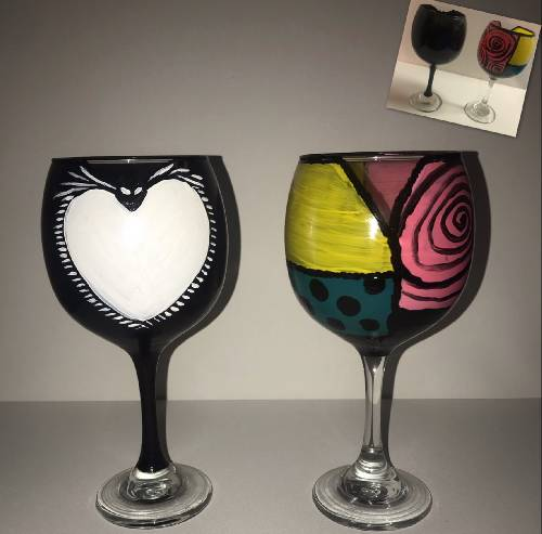 A Meant To Be Wine Glasses paint nite project by Yaymaker